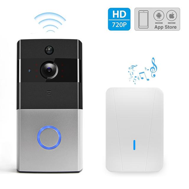 Wi Fi Deurbel Met Camera Incl Ontvanger En Batterijen Zwartgrijs